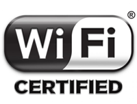 The device is Wi-Fi certified, for wireless exchange of data with other devices using the 802.11 protocol.