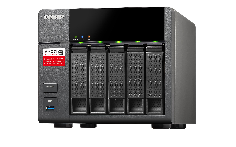 QNAP TS-563 AMD 2GB NAS Desktop 5Bay AMD 2.4GHz QuadCore 2GB DDR3L RAM(max.16GB) 5xUSB3.0 2xGb LAN 10Gb Ready HDMI