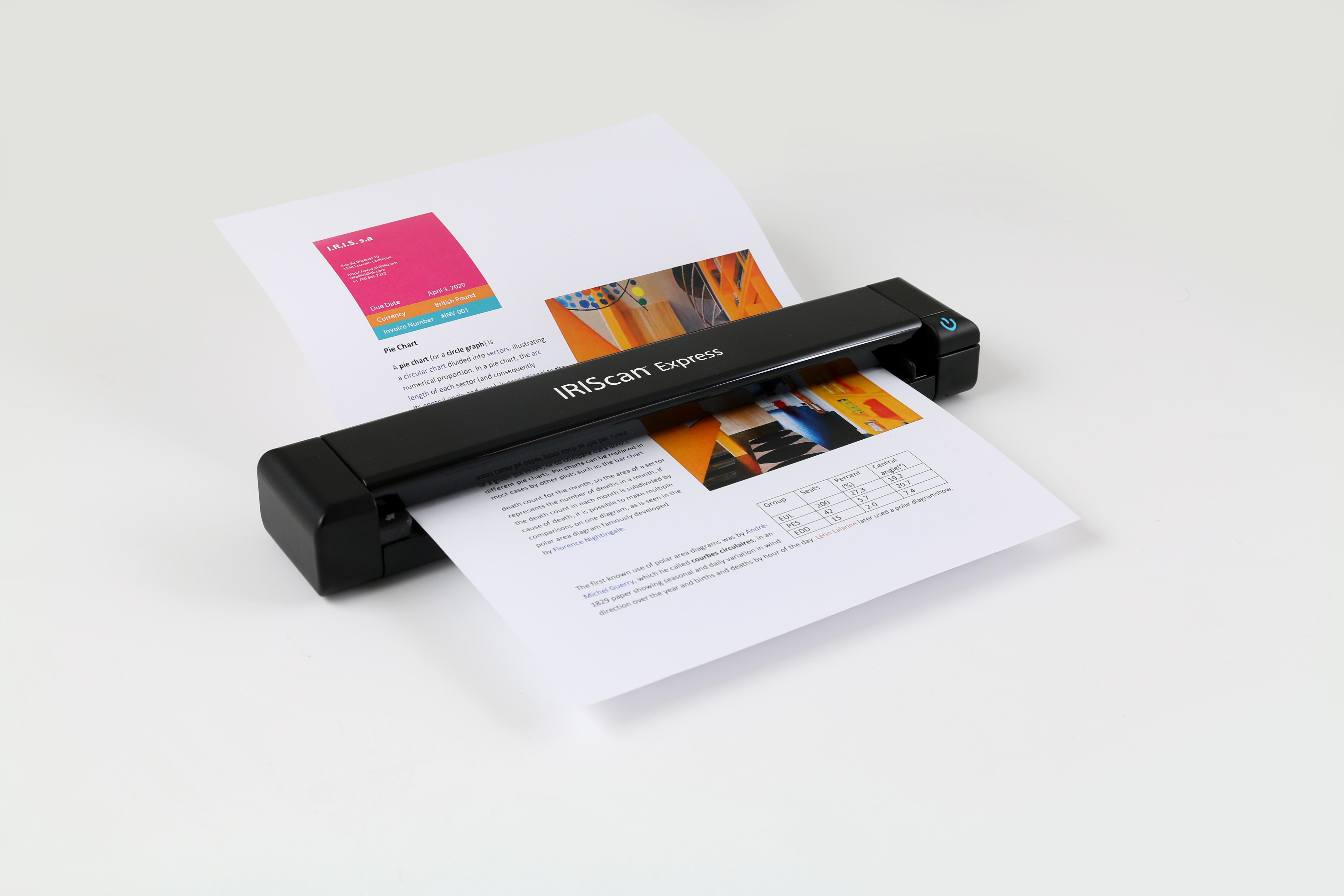 IRIS IRISCan Express 4 - portabler A4 Einzelblatt Farbscanner 8ppm 300/600/1200 DPI USB TWAIN - Win/Mac
