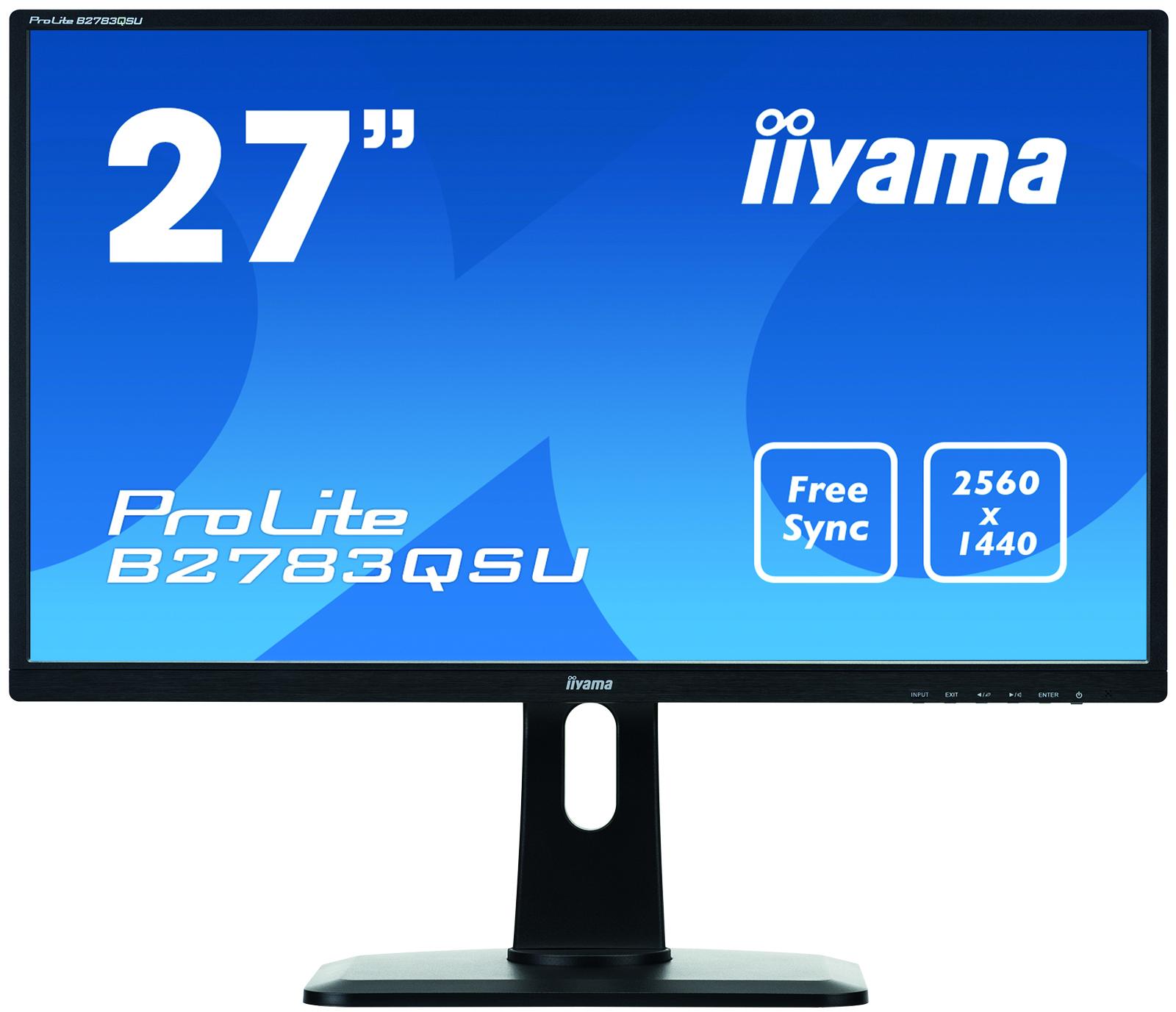 IIYAMA B2783QSU-B1 68,5cm 27Zoll LED QHD 2560 x 1440 FreeSync DVI HDMI DP USB Hub 1ms 350cd/m² hoehenverstellbar Pivot