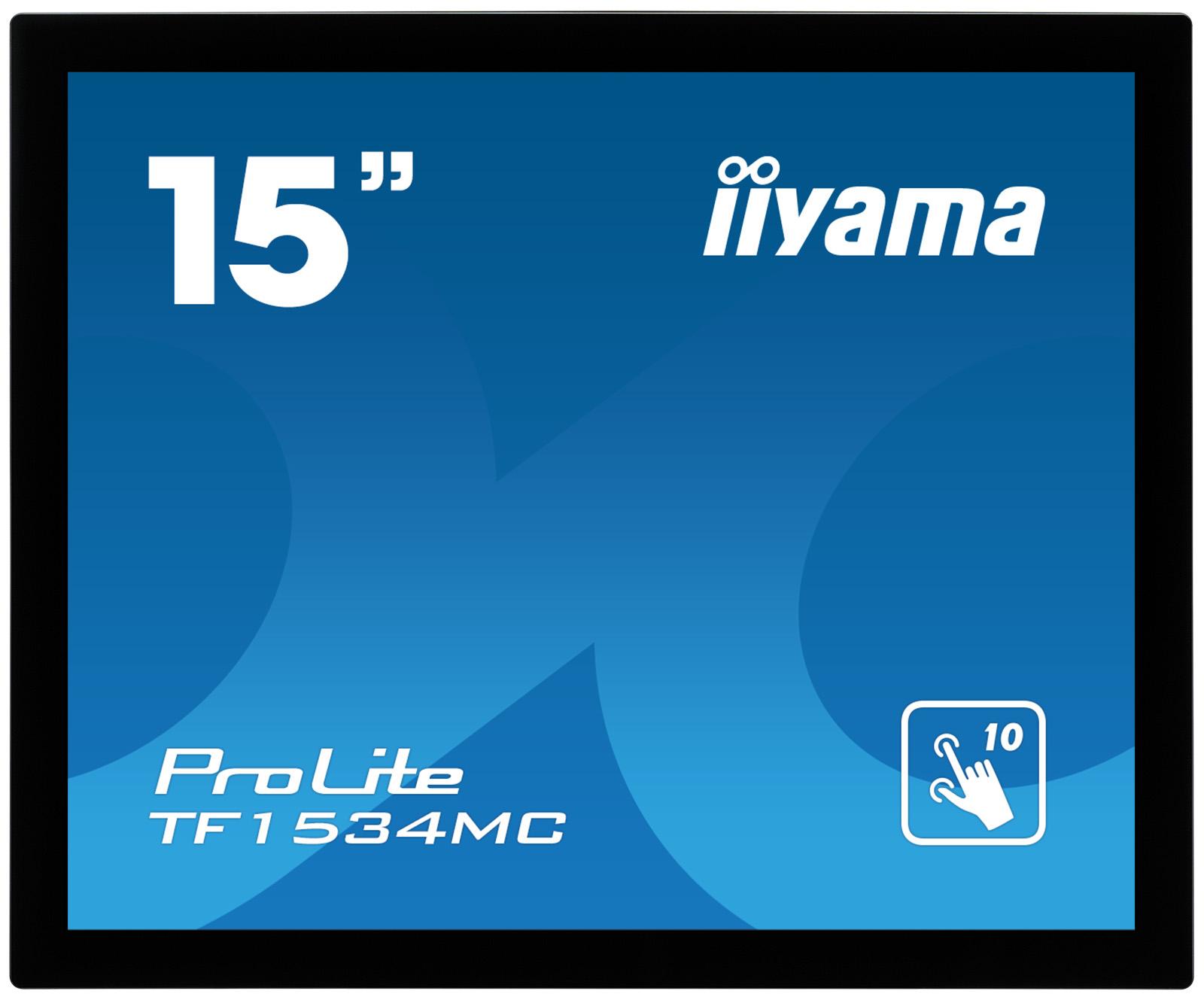 IIYAMA TF1534MC-B1X 38cm 15Zoll 10Punkt Multitouch kapazitiv 5ms VGA DVI USB(touch) 350dc/m² protection glas