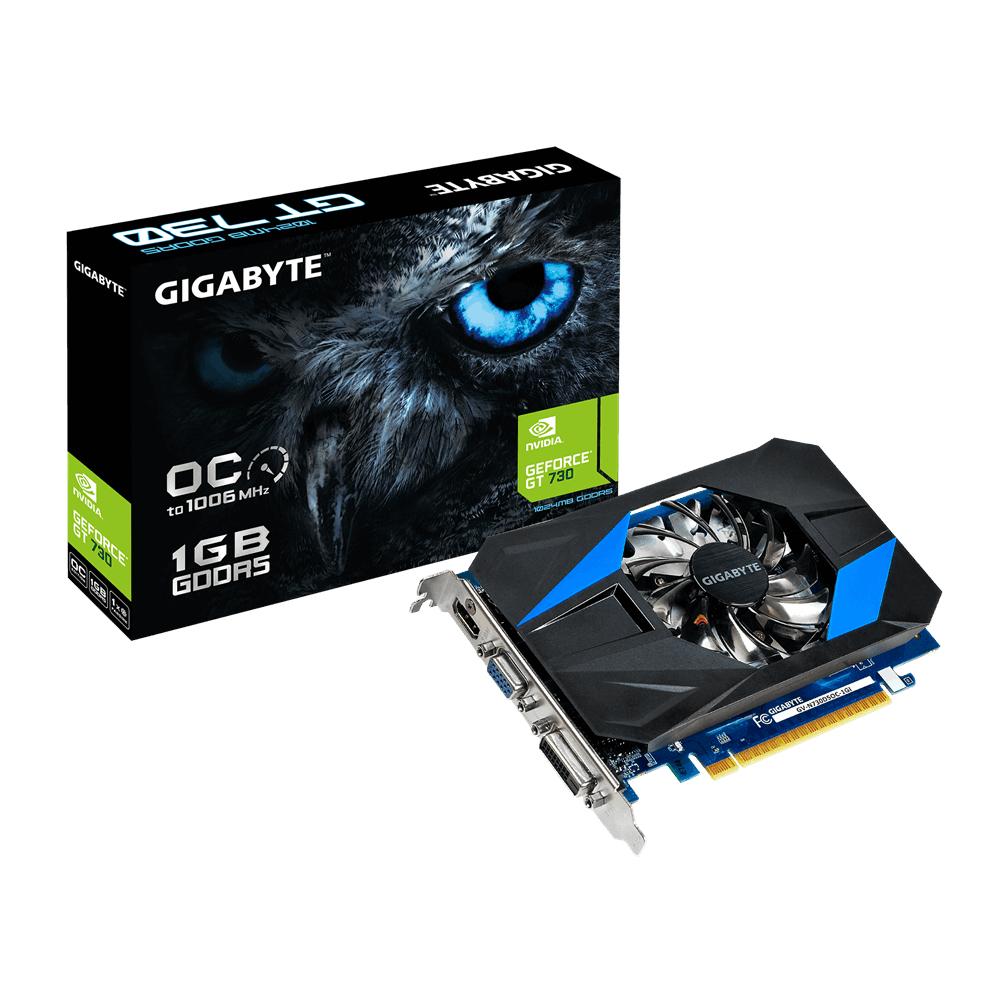 GIGABYTE GeForce GT 730 80mm fan 1024MB GDDR5 64bit PCI-E 3.0 DVI-I/D HDMI VGA activ