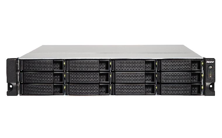 QNAP TS-1263U-4G NAS Rack 12-Bay AMD Quad-Core 2.0GHz 4GB DDR3L RAM 1x10GbE SFP+ upgradeable to 2x10GbE 4xGbE SATA6Gb/s ohne Railkit