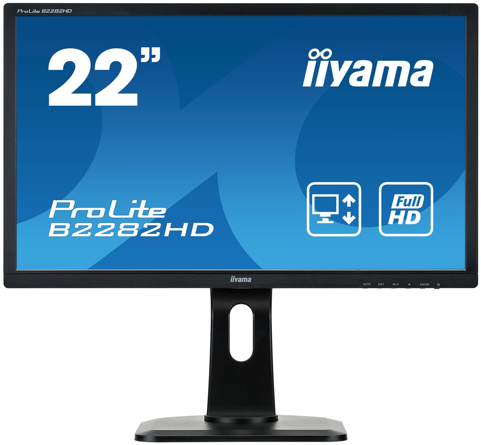 IIYAMA ProLite B2282HD-B1 54,7cm 21,5Zoll TN LED Backlight Full HD 1920x1080 VGA DVI hoehenverstellbar Pivot schwarz