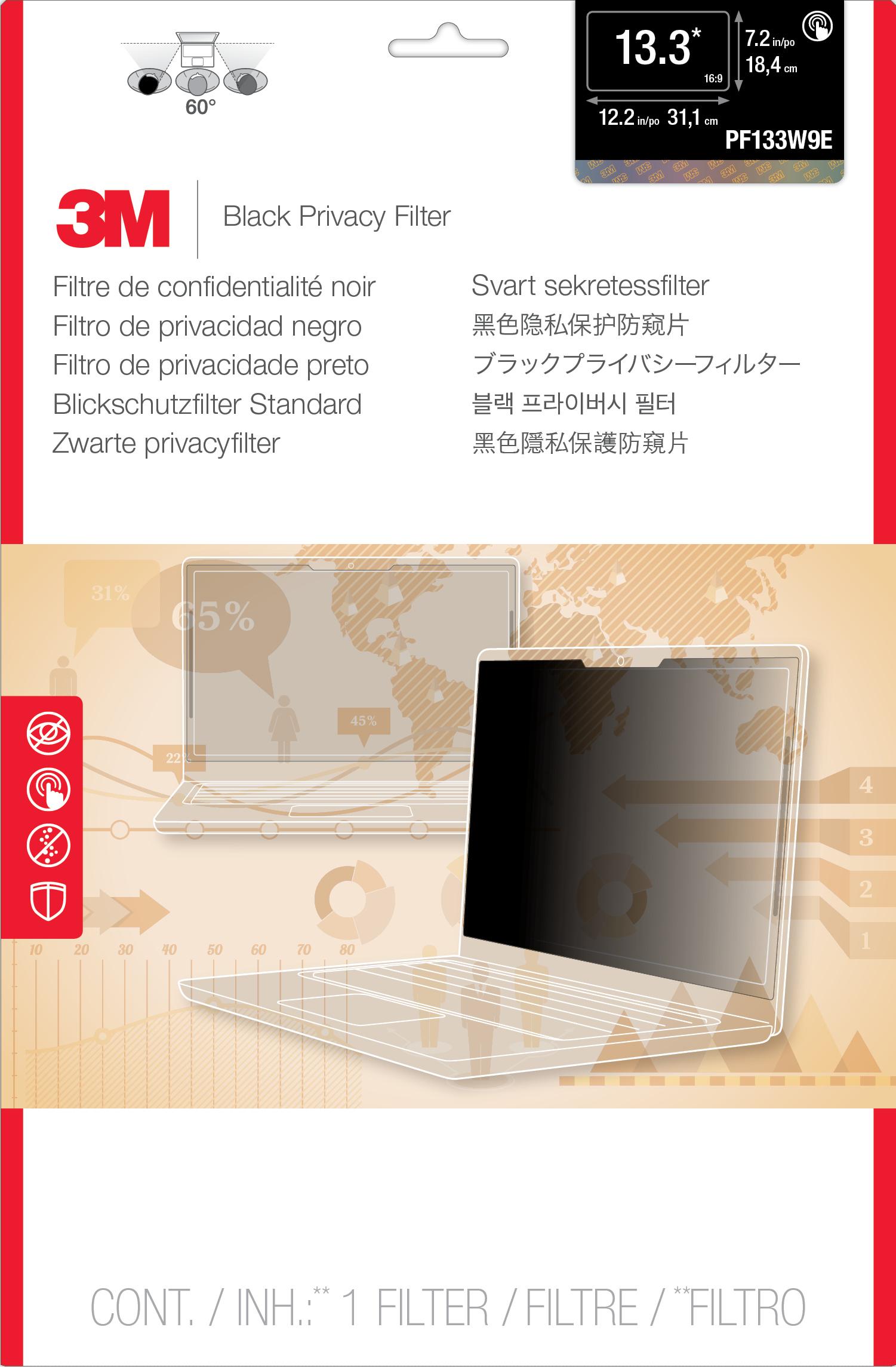 3M PF133W9E TouchLaptop Privacy Filter 16:9 schwarz