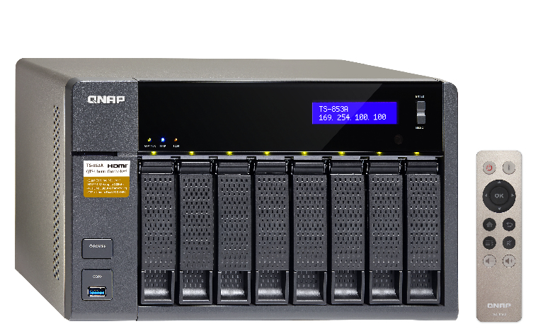 QNAP TS-853A-4G-NAS 8-Bay Intel Celeron Braswell N3150 QuadCore 1.6GHz (up to 2.08GHz) 4GB DDR3L SODIMM RAM  SATA 6Gb/s 4xGbE