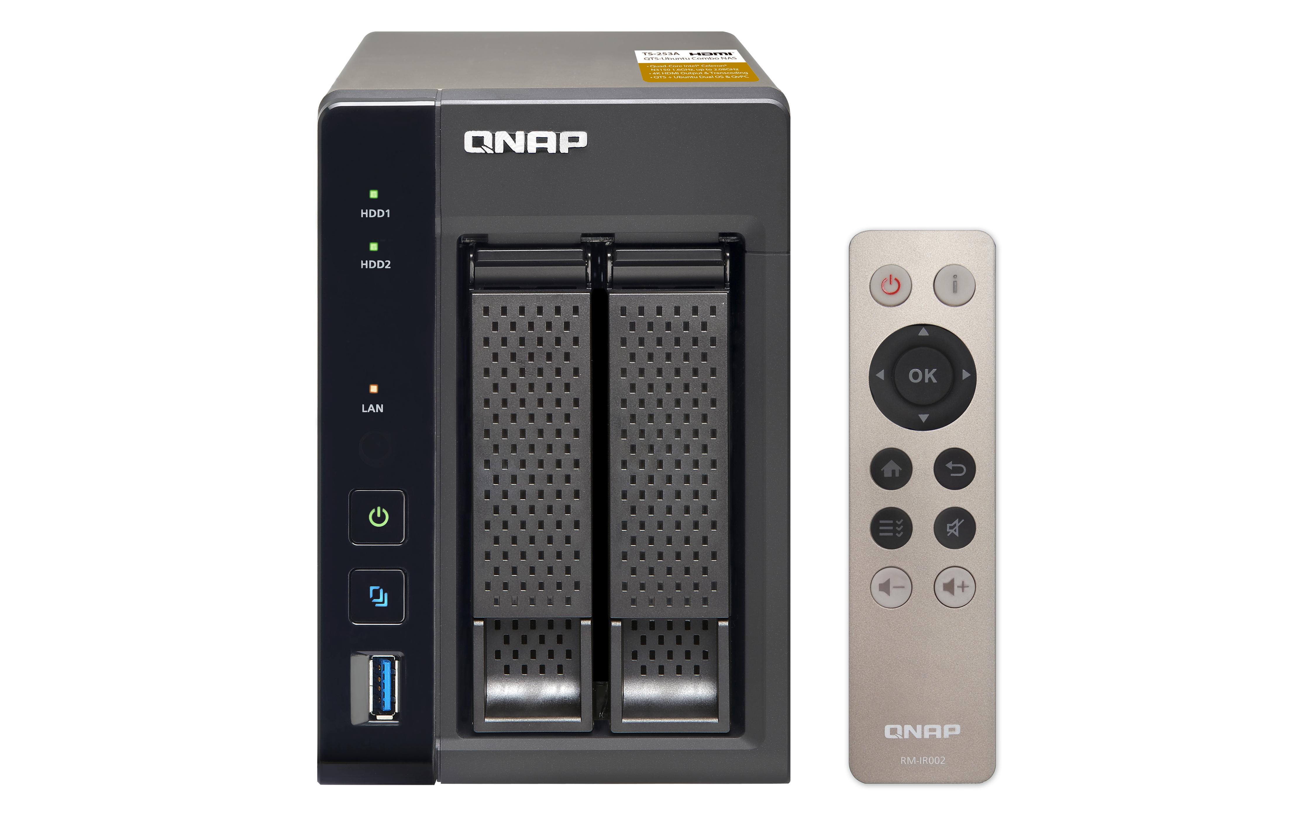 QNAP TS-253A-4G-NAS 2-Bay Intel Celeron Braswell N3150 QuadCore 1.6GHz (up to 2.08GHz) 4GB DDR3L SODIMM RAM  SATA 6Gb/s 2xGbE
