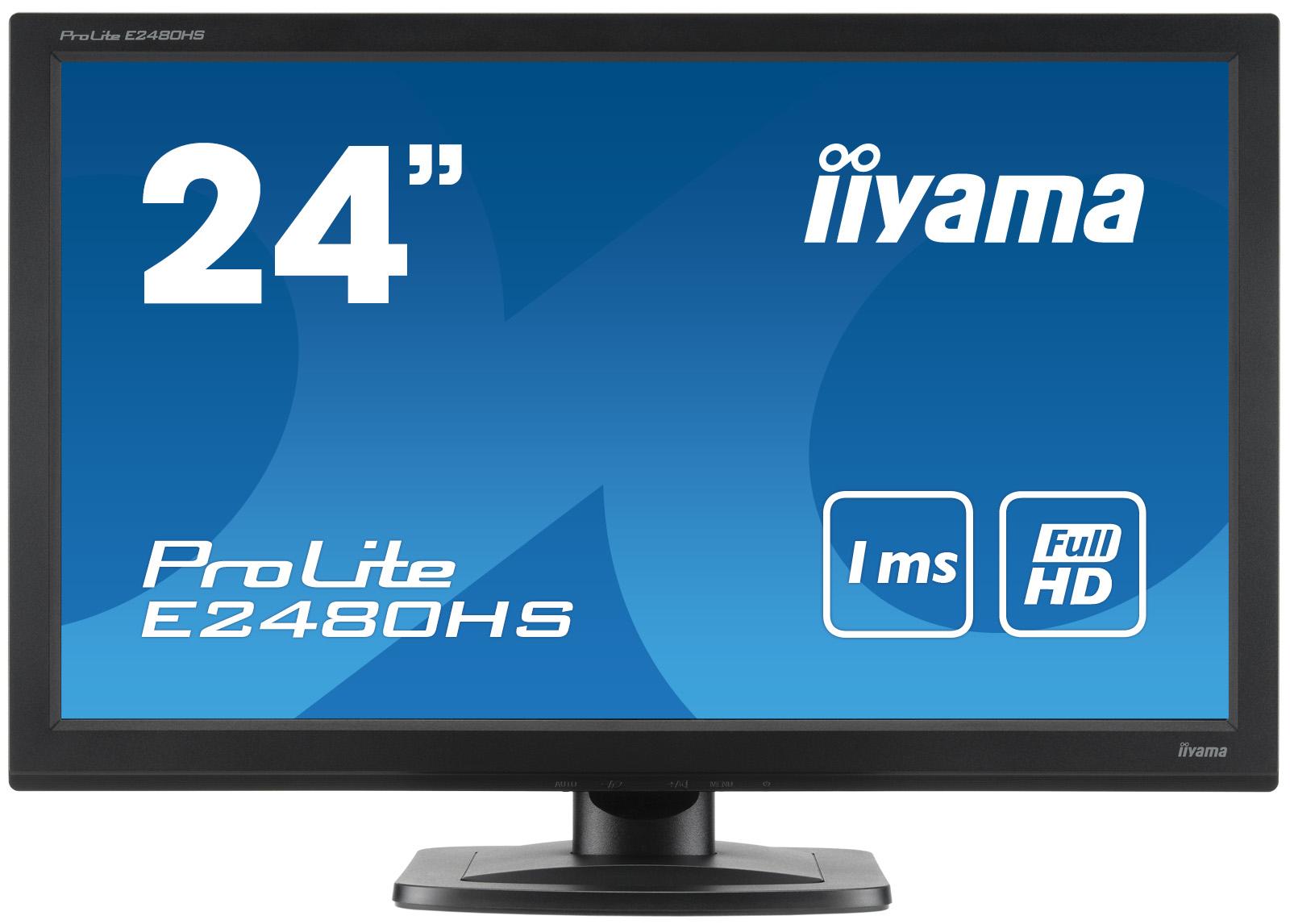 IIYAMA ProLite E2480HS-B2 60cm 23,6Zoll FullHD LED 1ms HDMI DVI VGA 250cd/m² 16:9 neigbar Lautsprecher Schwarz