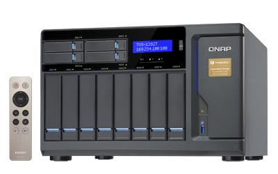 QNAP TVS-1282T-i7-32G 12-Bay NAS Desktop SATA 6G Core i7 32GB RAM 4-LAN 2x10Gbase-T 2xThunderbolt iSCSI (max 32GB RAM)3xPCIe exp.