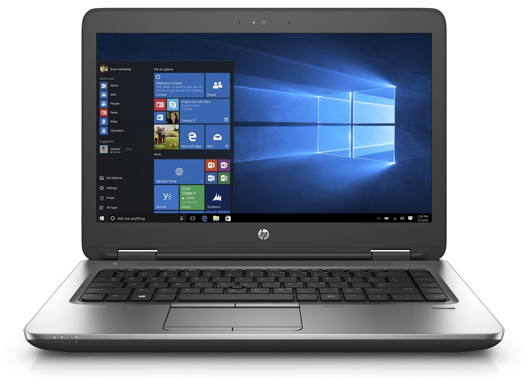 HP ProBook 645 G2 AMD A10-8700B 35,6cm 14Zoll FHD AG UMA 4GB 128GB/SSD DVDRW WLAN BT FPR W7PRO+W10PRO 64bit LIC 1J Gar. (DE)