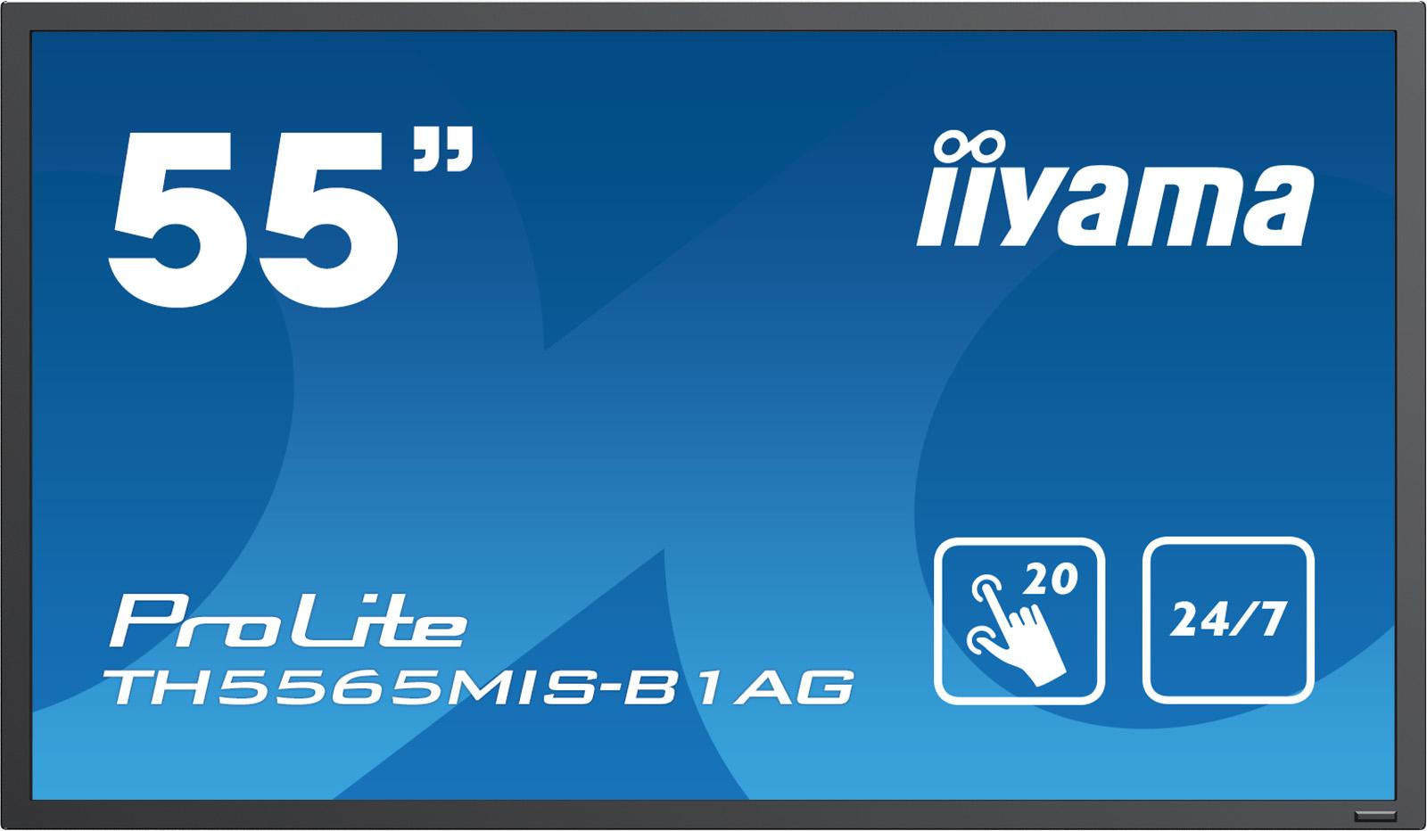 IIYAMA ProLite TH5565MIS-B1AG 138,8cm 54,6Zoll IPS antiglare multitouch 1920x1080 450cd/m² 12ms Speaker VGA3xHDMI USBMediaPlayer24/7