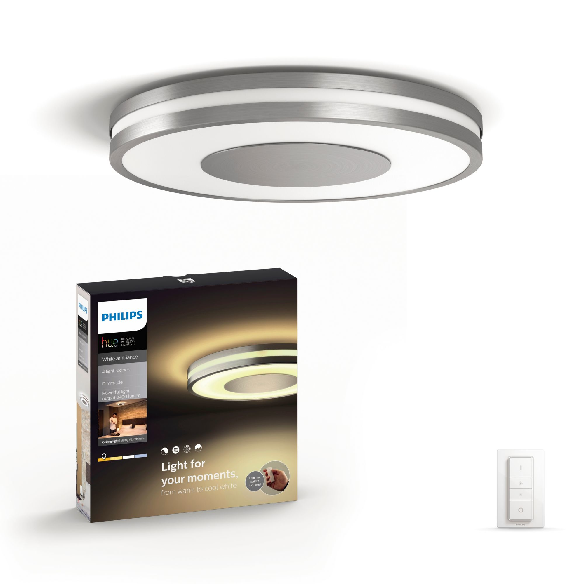 Philips Hue Being LED Deckenleuchte alu