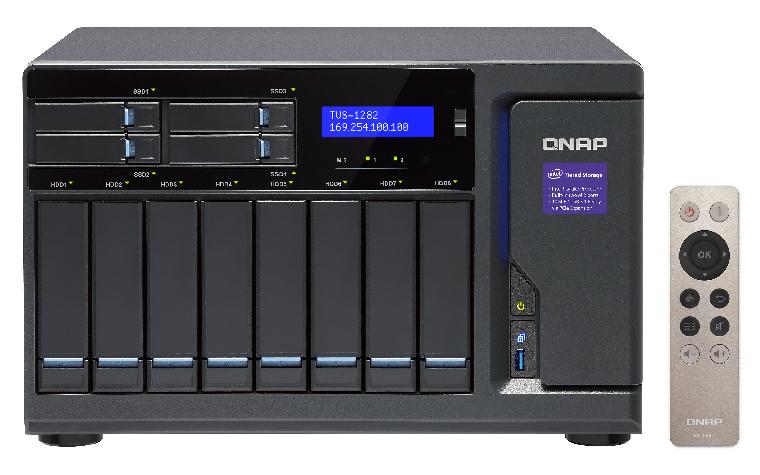 QNAP TVS-1282-i7-64G-450W 12-Bay SATA 6G Core i7-6700 3.4GHz 64GB RAM 4-LAN 10G-ready iSCSI max.64GB RAM 3xPCIe exp. slot 450W sps