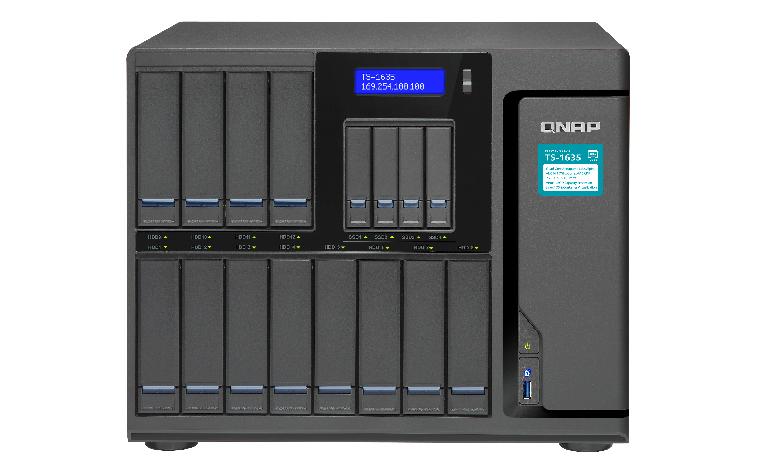 QNAP TS-1635-8G 16-Bay NAS SATA 6G AL-514 1.7GHz 4GB SODDIM RAM 4-LAN 2x10GbE SFP+ LAN iSCSI max.16GB RAM 1xPCIe exp. Slot sps