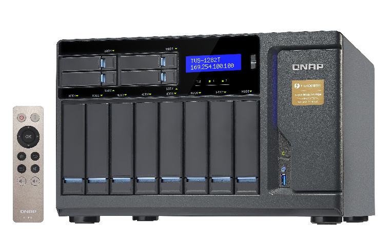 QNAP TVS-1282T-i7-64G 12-Bay NAS Desktop SATA 6G Core i7 64GB RAM 4-LAN 2x10Gbase-T 2xThunderbolt iSCSI max.64GB RAM3xPCIe exp.