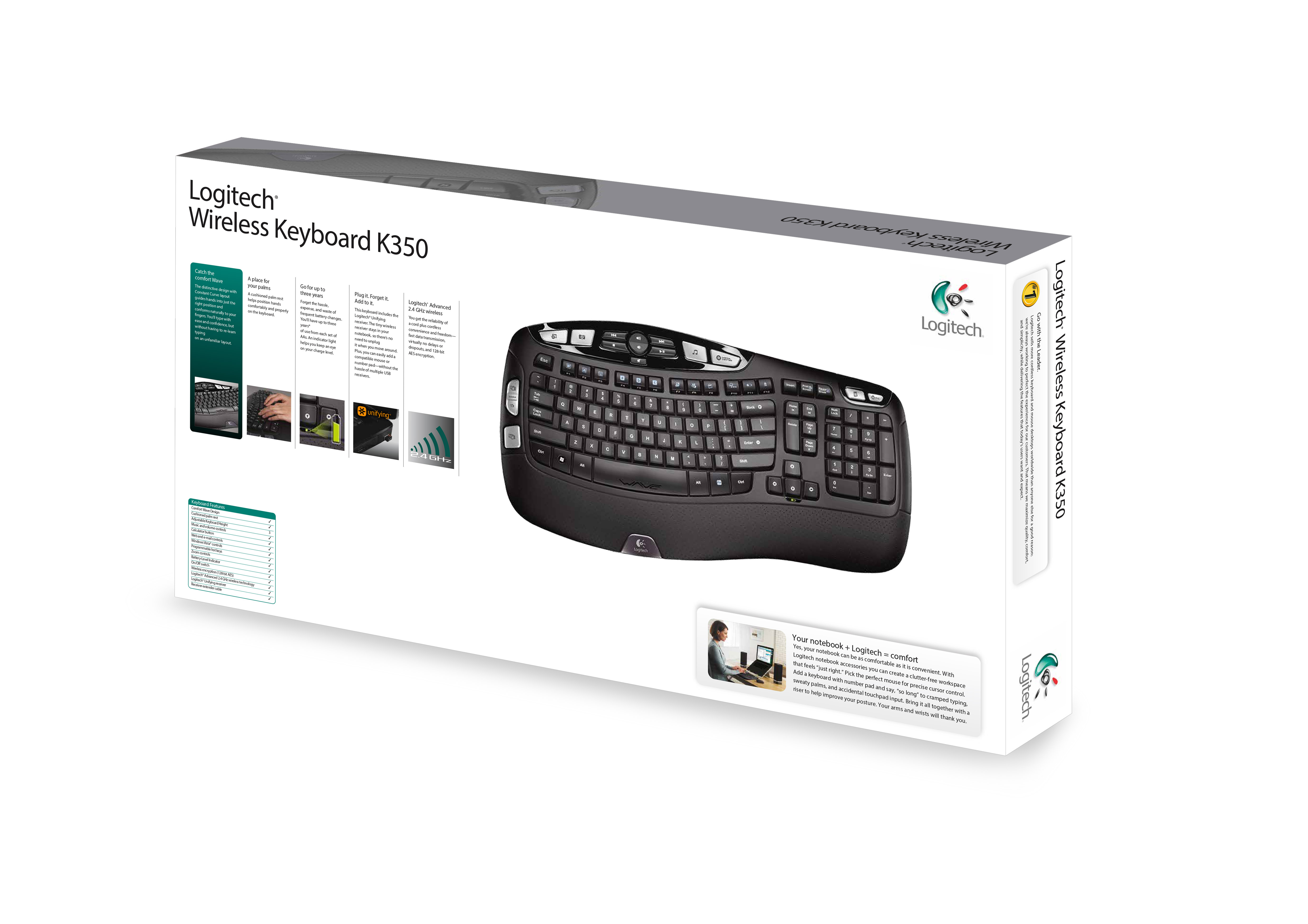 Specs Logitech Wireless K350 keyboard RF Wireless AZERTY French