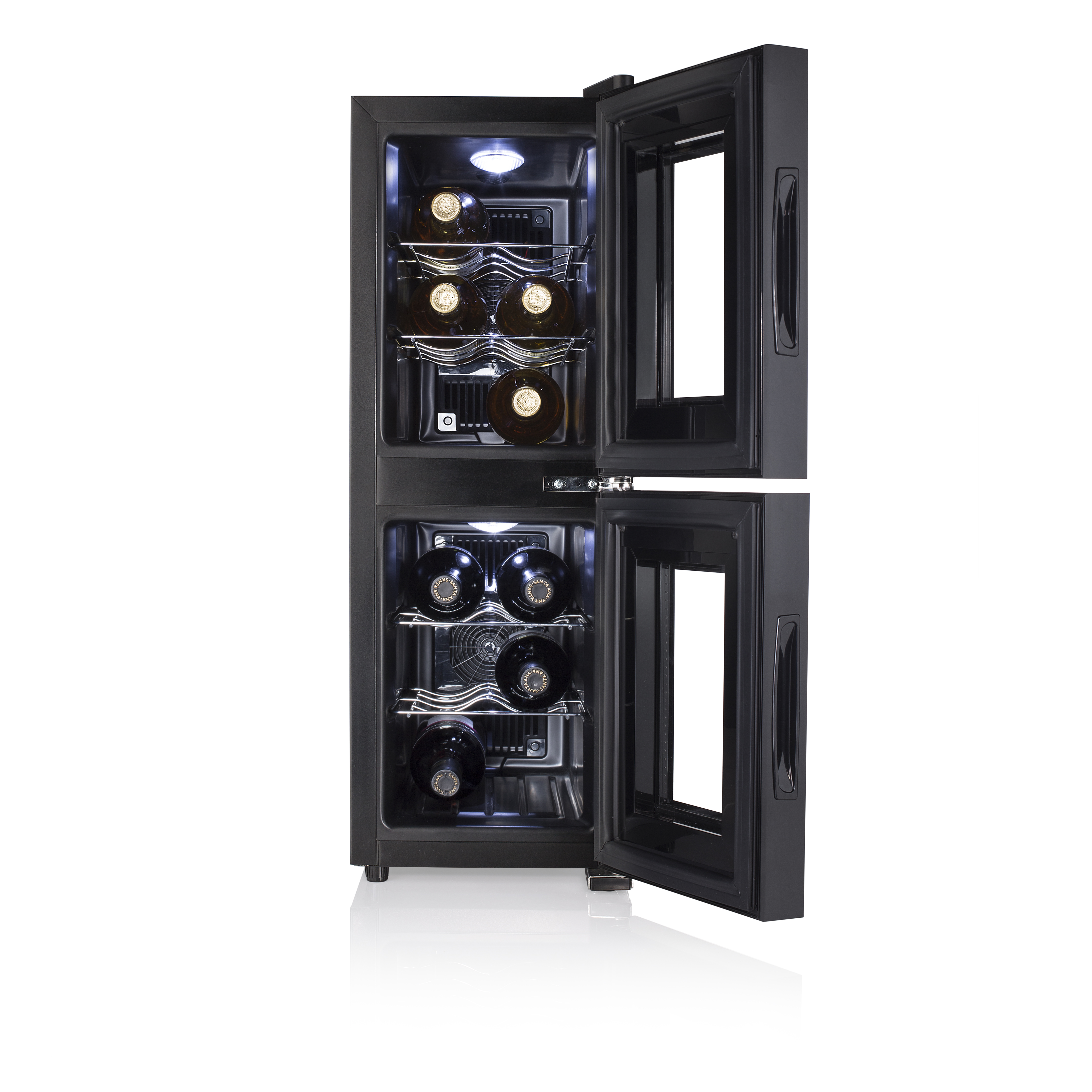 freestanding, Black, 7-18 /°C, C, Black, Black Tristar Wine Cooler Dual Zone wine coolers