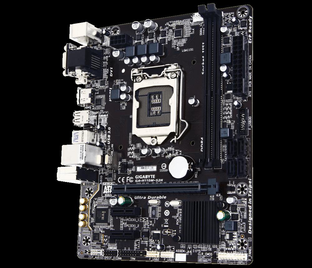 color negro LGA 1151, DDR4 x 2, 2133 MHz, VGA, HDMI, DVI, Mini-STX Gigabyte GA-H110M-S2H Placa base