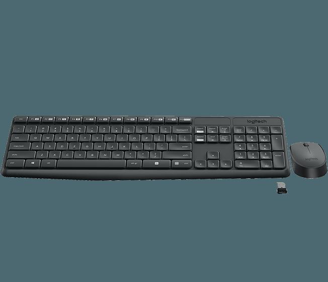 Specs Logitech MK235 keyboard RF Wireless Portuguese Black