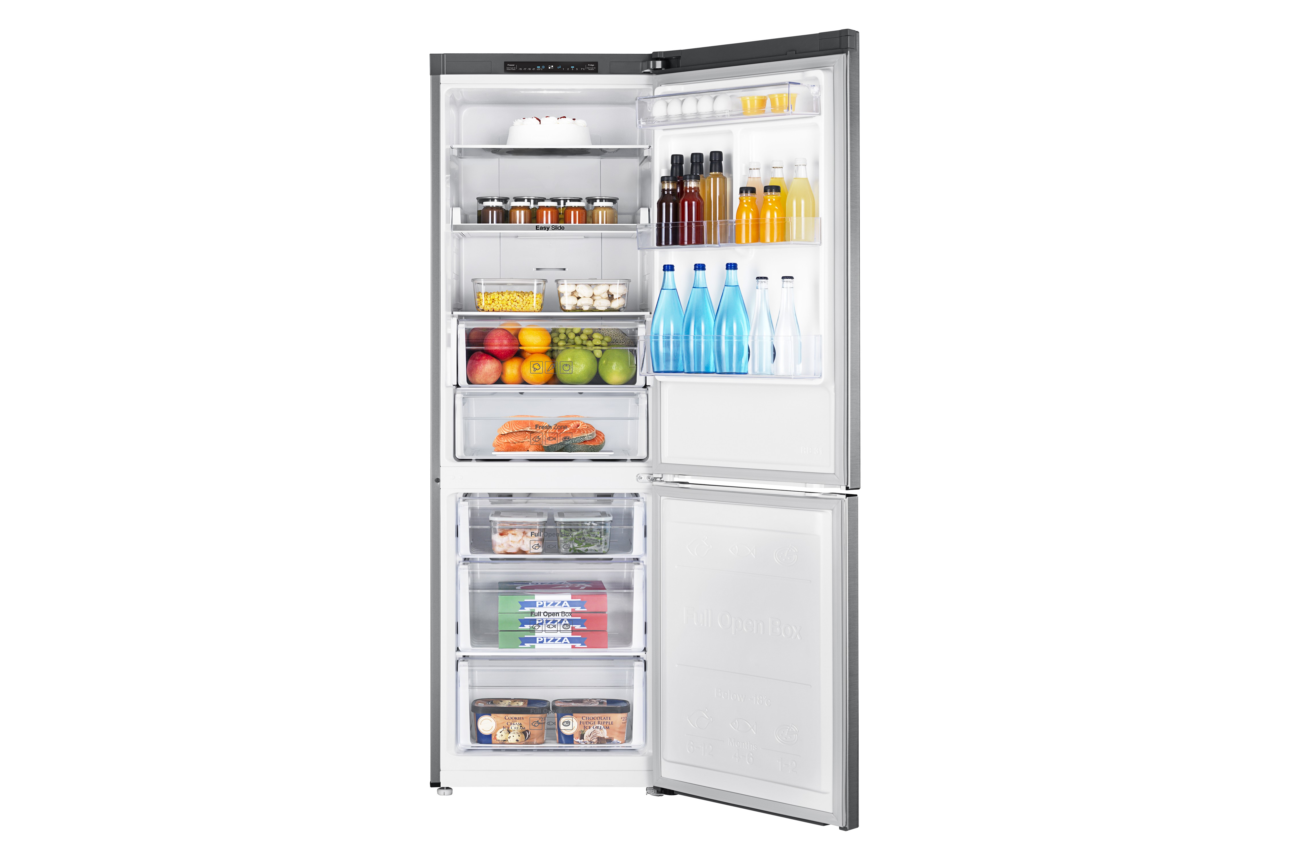 product data samsung rl33j3005sa freestanding a stainless steel fridge freezer fridge freezers. Black Bedroom Furniture Sets. Home Design Ideas