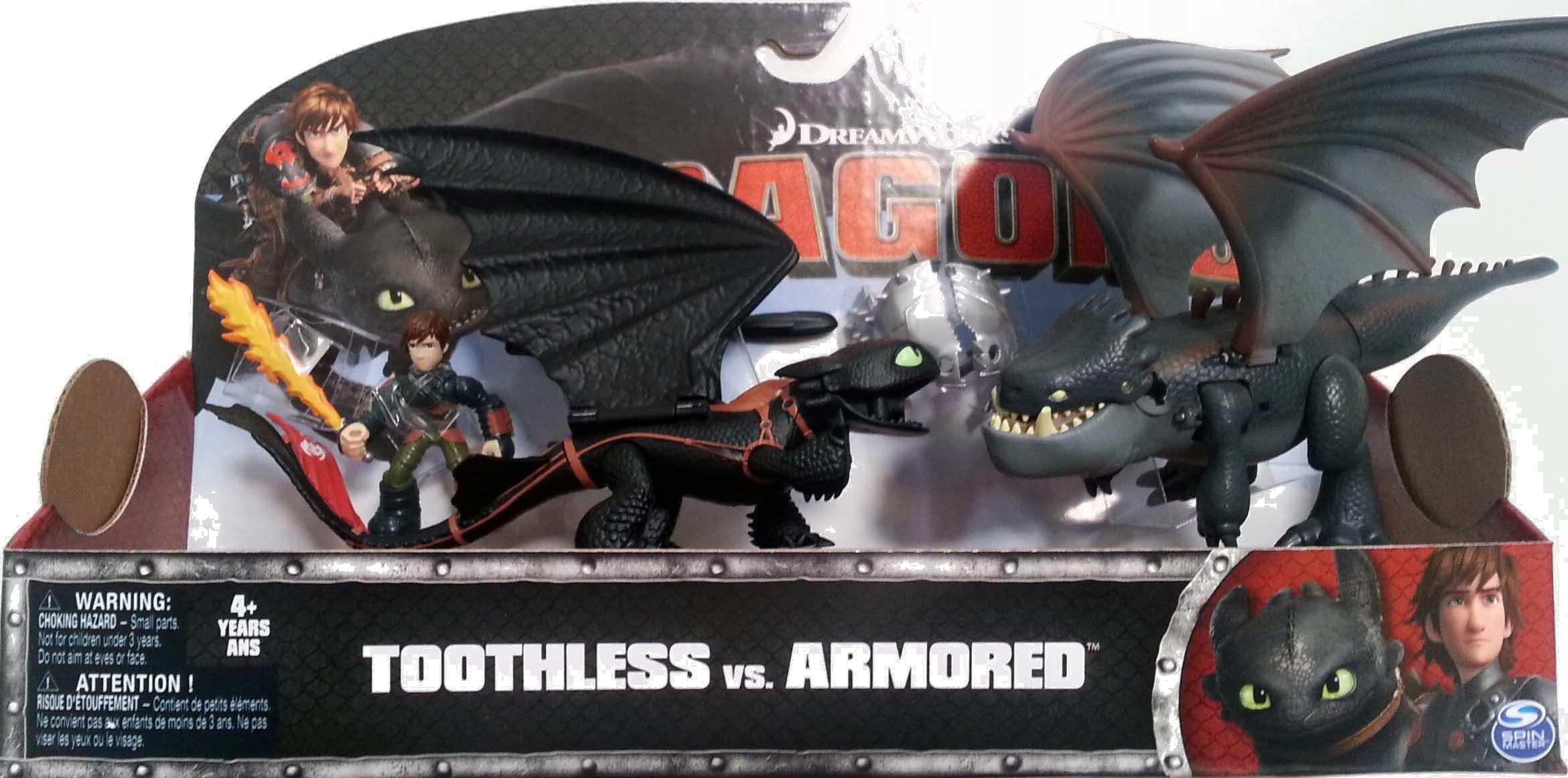 HOW TO TRAIN YOUR DRAGONS TOOTHLESS /& HICCUP VS ARMORED DRAGON SPIN MASTER 4+