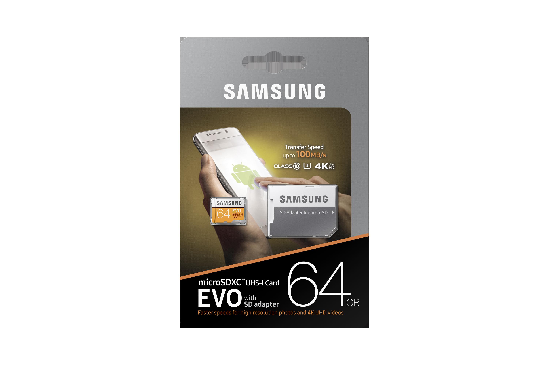 Samsung MB-MP64GA//EU Carte m/é moire MicroSD Evo 64G avec Adaptateur SD 8806088676517