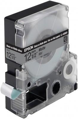 EPSON Schriftband LC4SBE9 matt schwarz auf matt silber 12mm fuer Label Works 900P, LW300,LW400