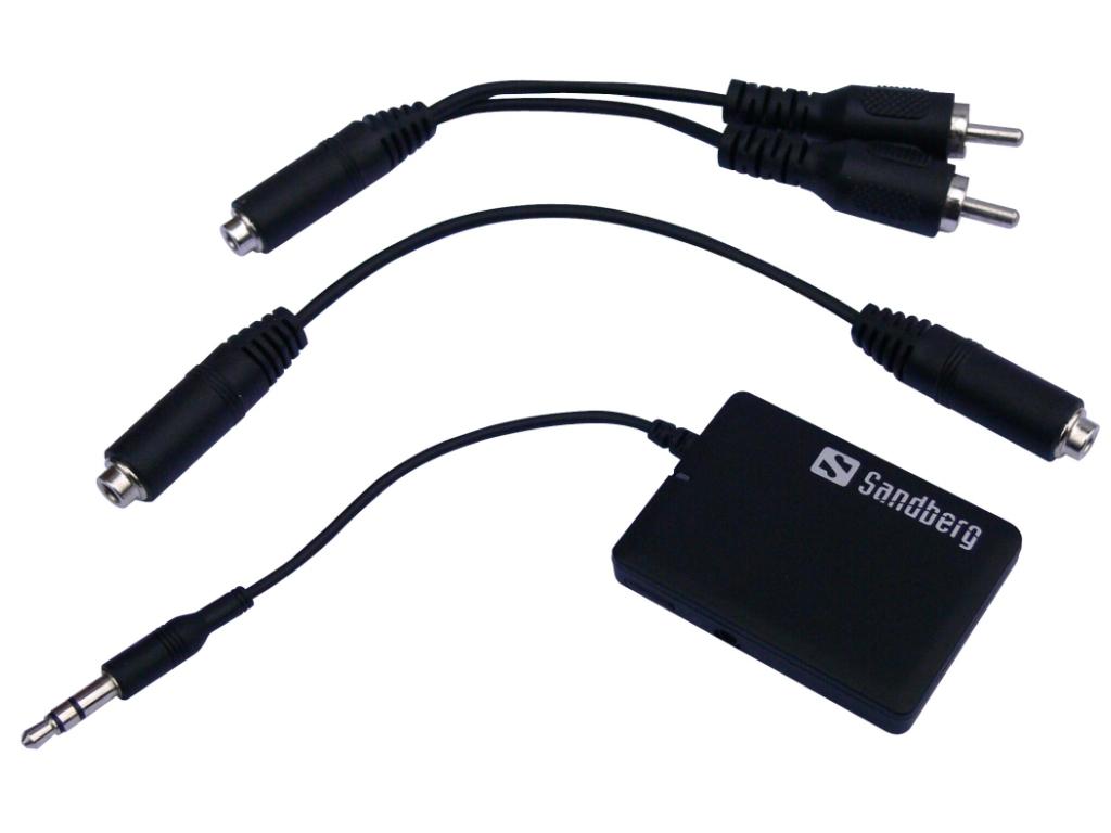 SANDBERG Bluetooth Audio Link Verbindung zwischen Bluetooth und HIFI oder KFZ Aufladbar Stereo RCA 3,5mm jack M/F Adapt inkludiert