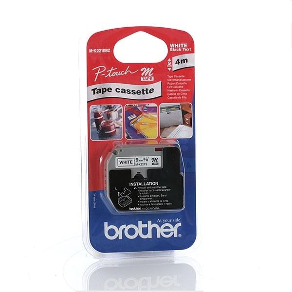BROTHER MK221S Schriftbandkassetten weiss schwarz 4mx9mm nicht laminiert fuer P-touch 55 60 65 75 80 85 110 BB4