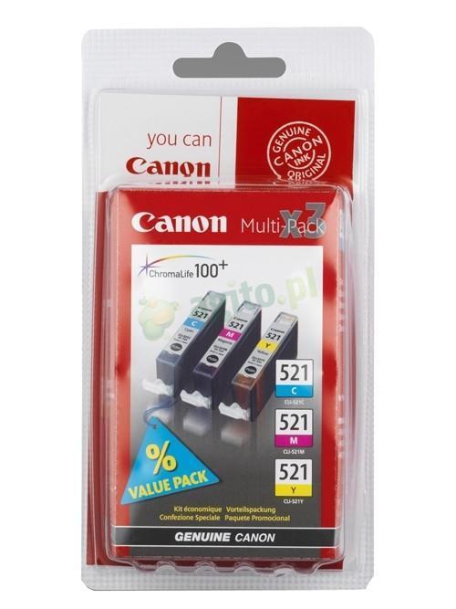 CANON CLI-521 C/M/Y Tinte cyan, magenta und gelb Standardkapazität 3 x 9ml combopack blister ohne Alarm