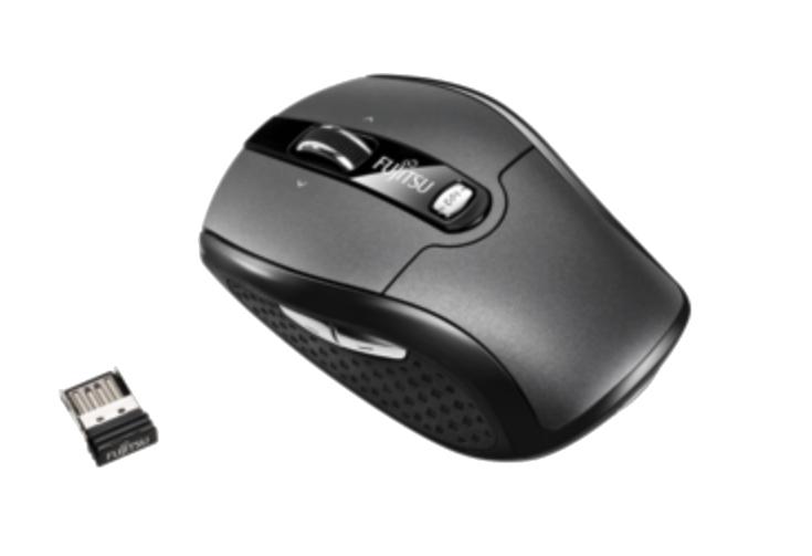 FUJITSU Wireless Notebook Mouse WI610 2,4GHz Funktechnologie USB Nanoempfaenger 5 programmierbare Tasten 1000/1500/2000dpi