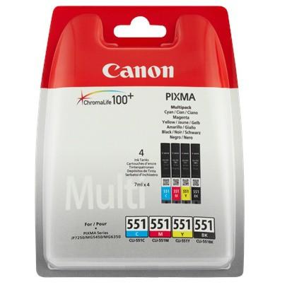 CANON CLI-551 Tinte schwarz und dreifarbig Standardkapazität combopack blister ohne Alarm