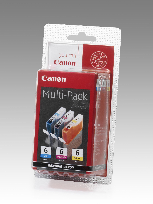 CANON BCI-6C/M/Y Tinte cyan, magenta und gelb Standardkapazität 1-pack blister mit Alarm