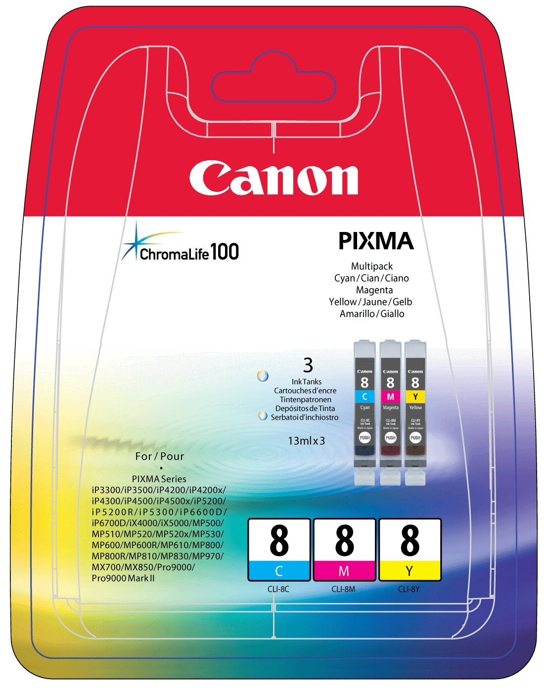CANON CLI-8C/M/Y Tinte cyan, magenta und gelb Standardkapazit�t combopack blister ohne Alarm
