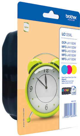 BROTHER LC-125XLRBWBPDR  Blistertintenset 3 XL-Tintenpatronen - Cyan Magenta Gelb für je 1.200 Seiten