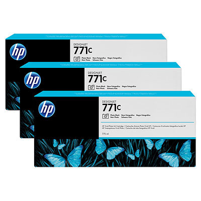 HP 771C Original Tinte foto schwarz Standardkapazit�t 3 x 775ml 3er-Pack