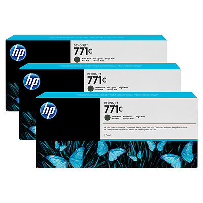HP 771C Original Tinte matt schwarz Standardkapazit�t 3 x 775ml 3er-Pack