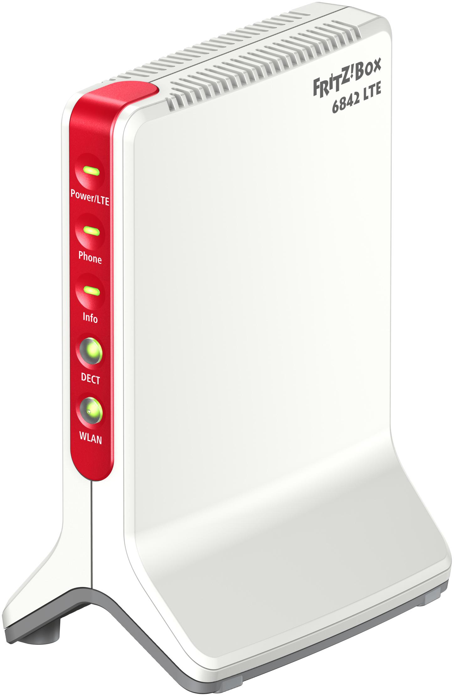 AVM FRITZ!Box 6842 LTE ? Triband LTE-Modem - WLAN N bis 300 Mbit/s - TK-Anlage + DECT-Basis - WPS - 1x Gigabit-LAN + 3x FastEthernet