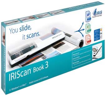 IRIS IRIScan Book 3 Win/Mac. Kabellos  akkubetrieben und sehr leicht. Scannt direkt in PDF oder JPEG  300/600/900 dpi. 137 Sprachen