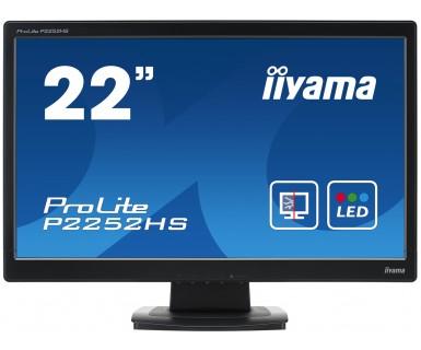 IIYAMA ProLite P2252HS55cm 21,5Zoll FullHD LED ProtectionGlas 5ms DVI VGA HDMI 225cd/m² Lautsprecher schwarz