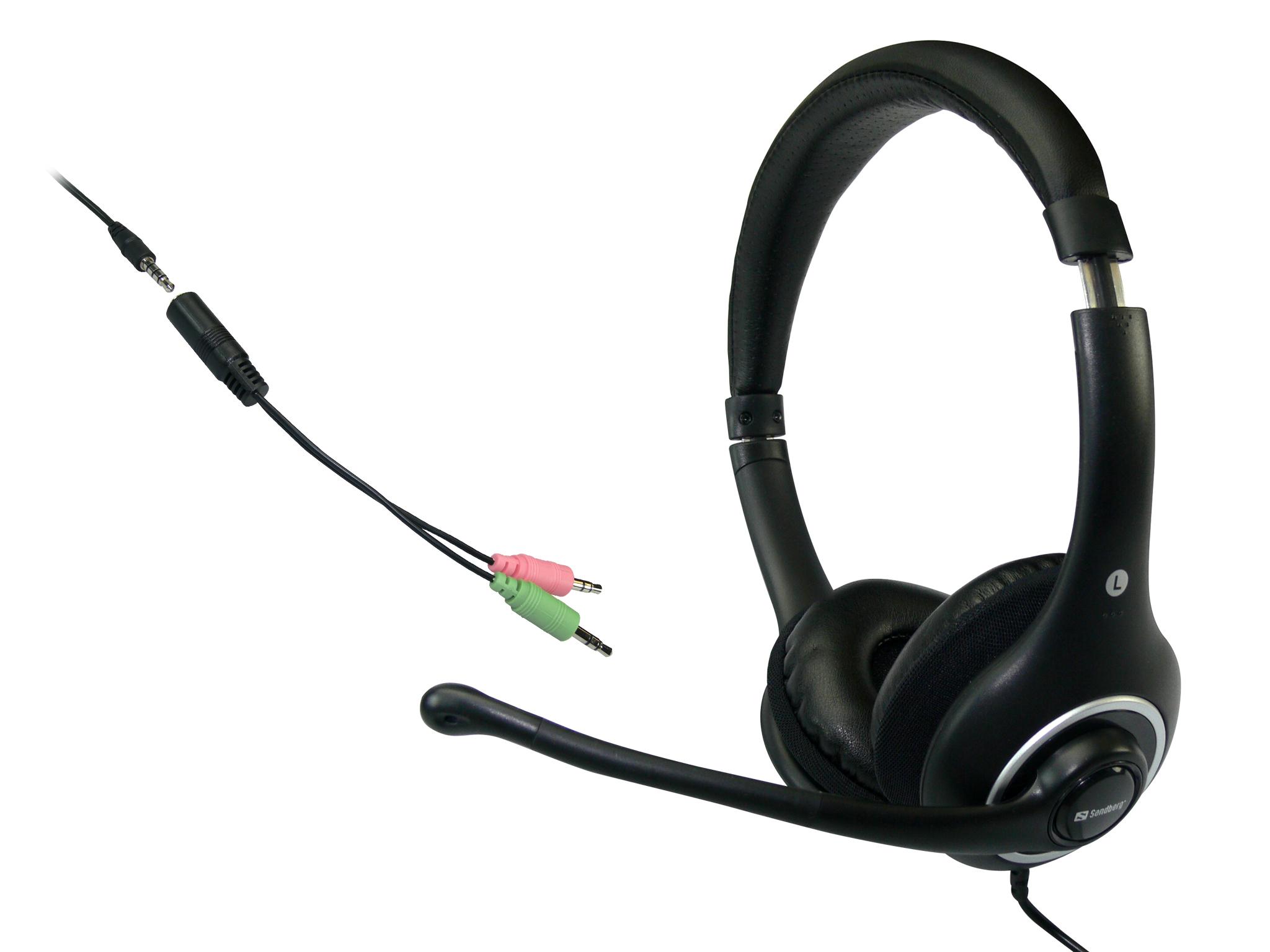 SANDBERG Plug n Talk Headset Schwartz mit Mikrofon und Lautstaerkeregler Adapter fuer PC Mobil Tablet inkludiert