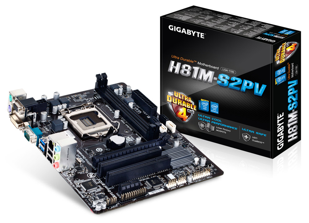 GIGABYTE H81M-S2PV Socket1150 H81 2xDDR3 PCI-E USB3 DVI RGB mATX