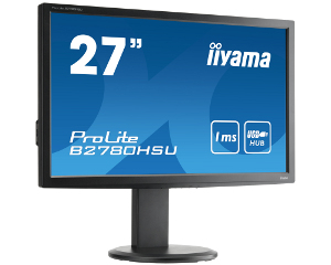 IIYAMA ProLite B2780HSU-B1 68,58cm 27 Zoll LED 1ms VGA HDMI DVI USB 300cd/m  Full HD 16:9 Lautsprecher Hoehenv. Pivot Schwarz