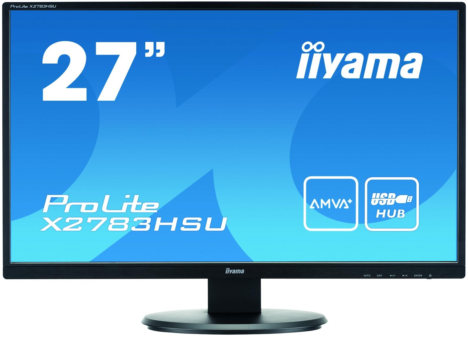IIYAMA ProLite X2783HSU-B1 68,5cm 27Zoll AMVA LED VGA HDMI DVI USB 300cd/m² Full HD 16:9 Schwarz