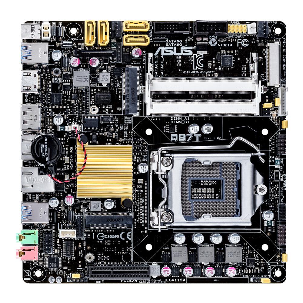ASUS Mainboard Q87T LGA1150 socket Intel Q87 Thin-Mini-ITX DDR3 max.16GB Integrated Graphics Processor HDMI Display Port