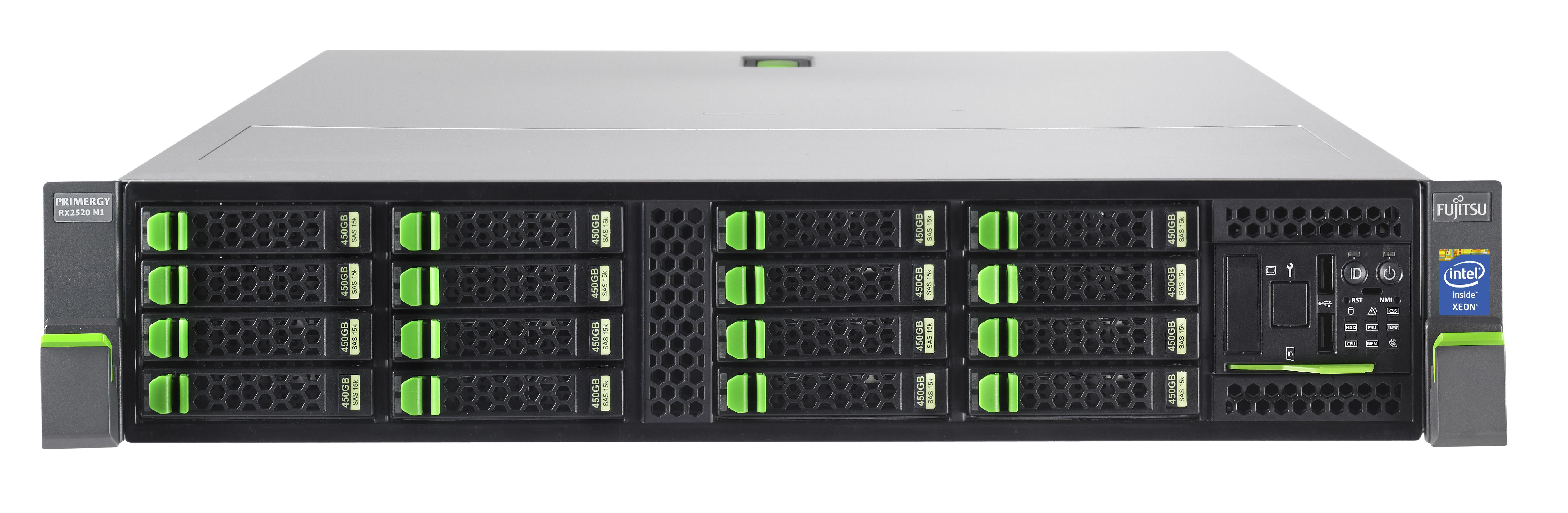FUJITSU PRIMERGY RX2520 M1 Xeon E5-2403v2 1,8GHz 1x 8GB DDR3-1600 w/o HDD SAS/SATA 6,4cm 2,5Zoll DVDRW 1x SV hp 450W 3J VOS