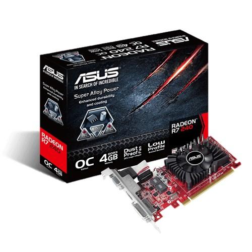 ASUS Radeon R7 240 OC 4096MB DDR3 R7240-OC-4GD3-L 128bit PCI-E 3.0 Single Link DVI-D HDMI aktiv
