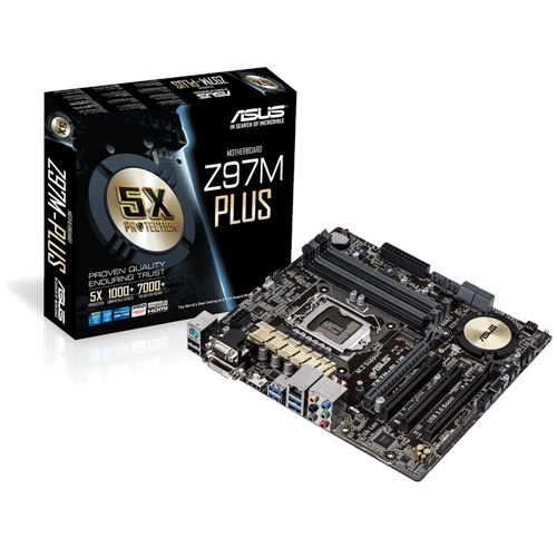 ASUS Z97M-PLUS Socket1150 Intel Z97 4x DDR3 max 32GB D-Sub DVI HDMI PCI USB uATX