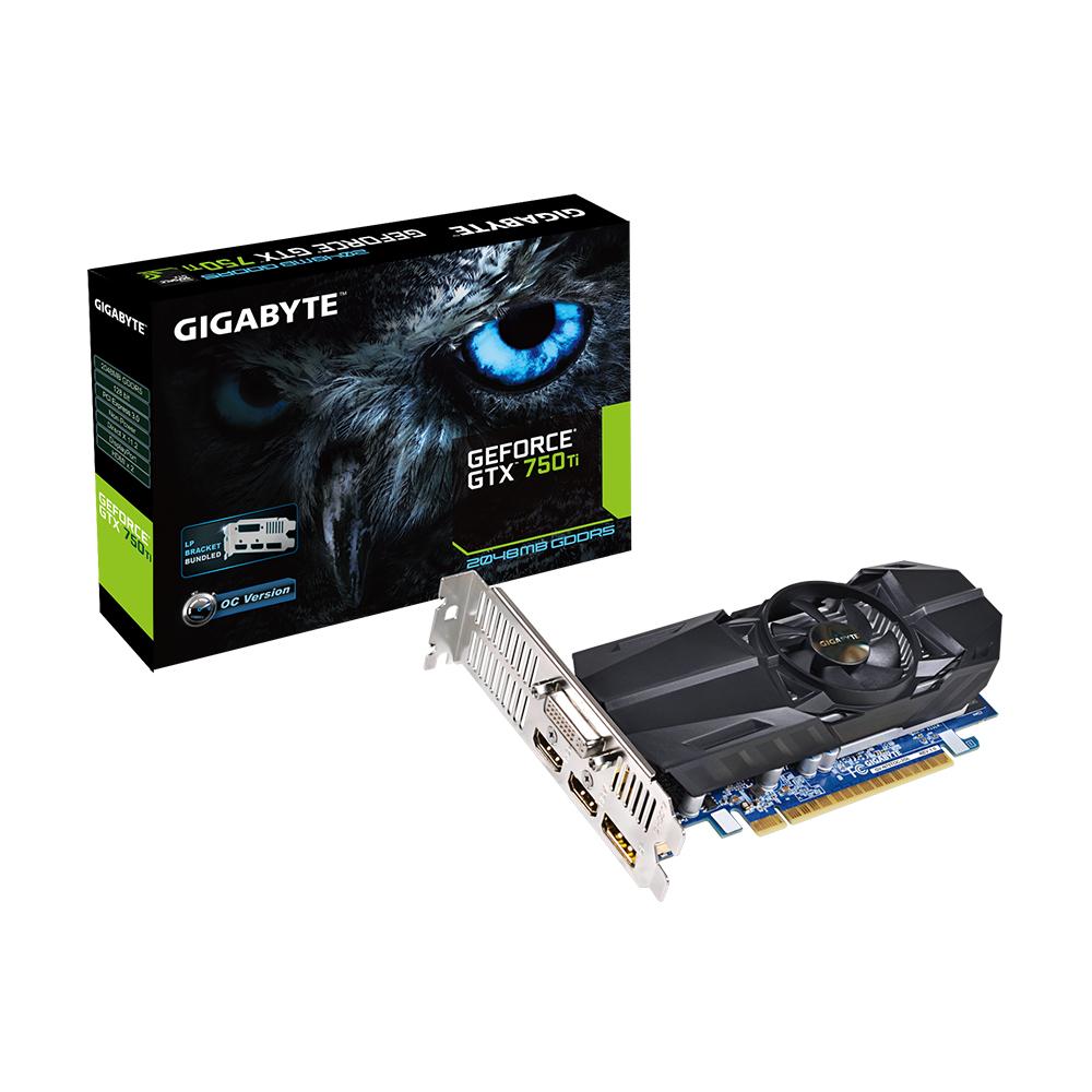GIGABYTE GeForce GTX 750TI 2048MB GDDR5 128bit PCI-E HDMI DisplayPort DVI-I Low Profile aktiv