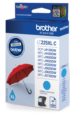 BROTHER LC-225XL Tinte cyan hohe Kapazit�t 1200 Seiten 1er-Pack